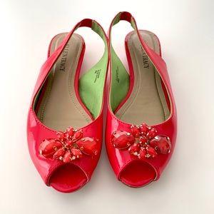 Ellen Tracy-Peep-Toe Ballet Flats with Jewels